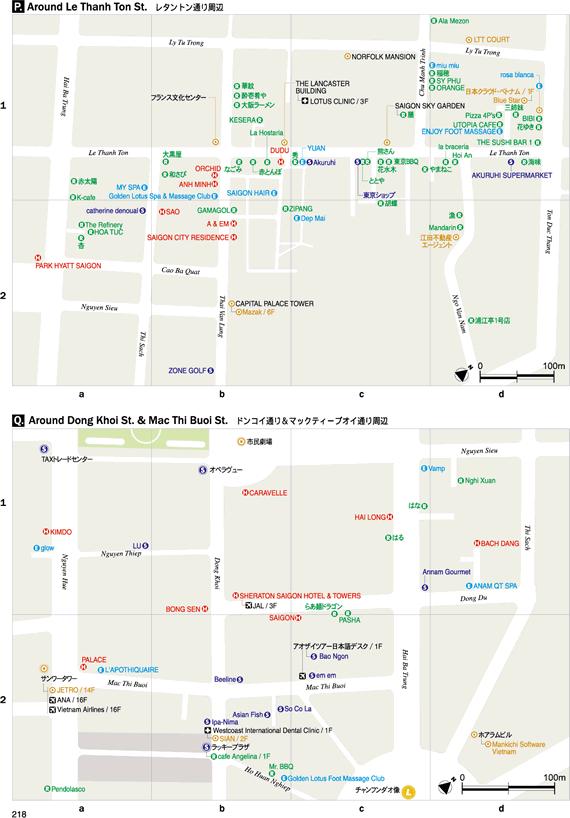 レタントン通り周辺地図・ドンコイ通り&マックティーブイ通り周辺地図