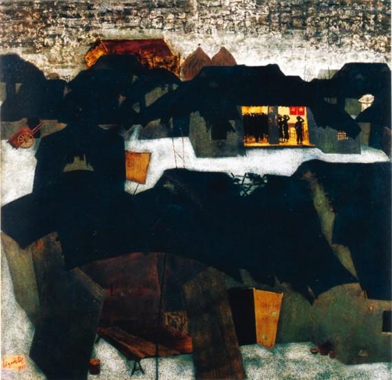 村の入党式(漆画) レ・クオック・ロック/Le Quoc Loc 1982年