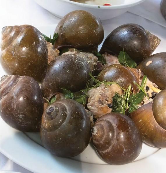 タニシの肉詰生姜の葉風味蒸し/Ốc Nhồi Hấp Lá Gừng